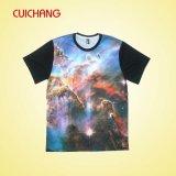 T-shirts personalizados de sublimação com boa qualidade, T-shirt colorido dos miúdos, transferência de calor T-shirt de sublimação de imprensa