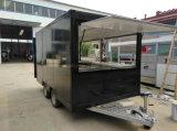 Carro móvil de la venta del perrito caliente que empuja el acoplado del carro del alimento