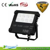 Luz de inundação IP65 10W ao ar livre magro do diodo emissor de luz do projeto novo da boa qualidade mini