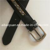 Cuir noir et mélange de tissu collé, avec le trou de boucle de la courroie