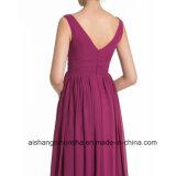 Vestido Chiffon Sleeveless da dama de honra do partido de noite da V-Garganta barata das mulheres