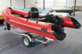 13.8ft Fiberglas-Rumpf-Rippen-Boot mit CER steifer Rumpf-aufblasbarem Boots-Außenbordbewegungsfischerboot