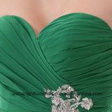 La dama de honor viste a mujeres de las alineadas Chiffon del verde del amor del hombro