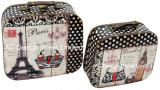 S/2 Conception de l'impression Lady décoratifs sac cuir synthétique/sac de stockage en bois MDF de la poitrine