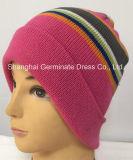 暖かい帽子の帽子(Hjb054)を編む冬の帽子の縞