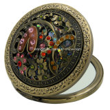 Вытравленное зеркало бронзового круглого цветка косметическое для сбывания