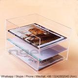 Étagère acrylique transparente d'étalage de trois livres de rangées