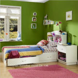 4 Piece Pure White Kids Wood Storage Bedroom Set