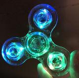 세 배 방적공 투명한 LED 가벼운 손 방적공 싱숭생숭함 수정같은 플라스틱 EDC 스위치 핑거 자폐증 기복 불안 긴장 장난감