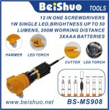 12 in One Screwdrivers com luz LED, martelo e cortador
