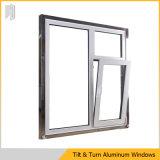 Ventana esmaltada doble de aluminio de la inclinación y de la vuelta
