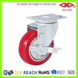 Rote PU-mittlere Aufgaben-Fußrolle (P120-35E075X30S)
