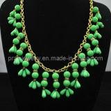 La moda de primavera/ Verde Collar de perlas de resina de 10mm 14mm 20mm 24mm 22mm chapado en oro amarillo de las cadenas con NP-051