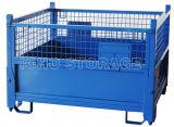 Depósito de almacenamiento soldado plegable apilable de acero de malla de alambre de la jaula de almacenamiento