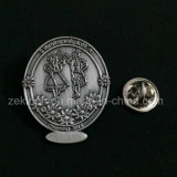 Distintivo di Pin del contrassegno del metallo inciso oggetto d'antiquariato su ordinazione