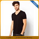 T-shirt bon marché de collet du noir V de plaine du coton des hommes faits sur commande