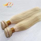 100%のビルマ人のRemyの毛の薄い色の膚触りがよい直毛のよこ糸
