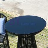 Tabela e cadeira simples de jantar do lazer ao ar livre preto moderno da barra de hotel da loja do chá do jardim do balcão