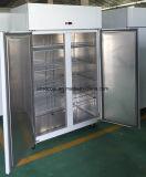 Frigorifero della cucina dell'acciaio inossidabile dei due portelli con le mensole registrabili