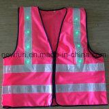 Alta maglia di visibilità di stile di colore rosa della maglia riflettente calda del tessuto LED