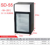 Congélateur solaire de congélation de batterie de congélateur de l'étalage -20degree de porte en verre de C.C 12V24V de Purswav SD-50 50L pour la crême glacée