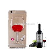 Роскошь 3D освобождает жидкостную крышку случая чашки красного вина для iPhone6/7 плюс