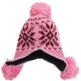 耳の折り返しのニットの帽子のスキー冬のニットの暖かい帽子の帽子の帽子