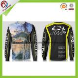Sublimation-lange Hülsen-Breathable kundenspezifische fischenjersey-Fischen-Hemden