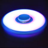 Blaue Feuerzeug-Tri Unruhe-runder heller Spinner des Plastikled