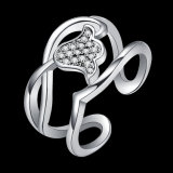 꽃 모양 입방 지르코니아 금에 의하여 도금되는 열려있는 반지 인공적인 보석