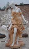 Sculpture humaine en jardin découpée par pierre de marbre blanche pour extérieur