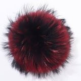 プラシ天のPompons取り外し可能な12cmののどのアライグマの毛皮のポンポンの球