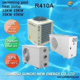 Thermostat tous temps 32deg c pour la pompe à chaleur titanique de piscine du tube Cop4.62 de l'eau chaude 12kw/19kw/35kw/70kw du mètre 25~256cube