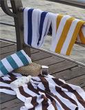 Tovagliolo di spiaggia su ordinazione del cotone della banda bianca e blu di vendita calda