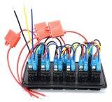 デジタルボルトメータ12Vのタバコのパワーアウトレット二重USBのソケットの充電器のアダプターは車RVのための6人の一団のロッカースイッチパネルを防水する