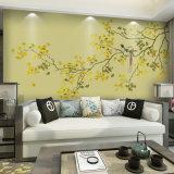 花が付いている鮮やかな壁布