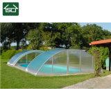 Couverture de piscine télescopique avec toiture en polycarbonate transparent