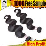 ボディ波のマレーシアの編むRemyの毛