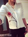 Camicia lunga casuale del manicotto della camicia chiffona lunga del manicotto delle donne
