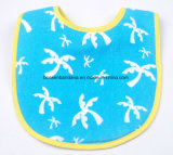 Fábrica de China Crear logotipo impreso el algodón afelpado absorbente amarillo Baby Bib Delantales