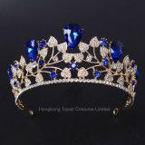 Устраивающих венчает Blue Crystal устраивающих свадьбу Headpiece Tiara устраивающих для волос с головной стяжкой аксессуары