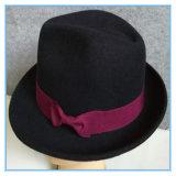 Klassischer Wolle-Filzfedora-Mann-Hut mit Farbband
