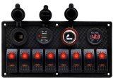 RV 차 바다 배 12V-24V를 위한 8명의 갱 로커 스위치 위원회 전압계 두 배 USB