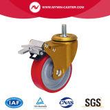 3 pouces de thread de noyau de fer de la tige de frein de roue de PU Roulettes industrielles