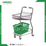 Carrello del negozio del carrello di acquisto del supermercato con due cestini