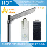15W IP65 Outdoor Integrated Sensorial Motion All in Solar One LED Street Light