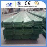Hoja de acero acanalada galvanizada prepintada sumergida caliente del material para techos
