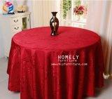 Ткань таблицы штофа полиэфира скатерти оптового роскошного украшения венчания круглая