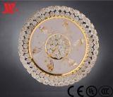 Luxuxkristalldeckenleuchte mit bereiftem Glasdeckel auf Unterseite
