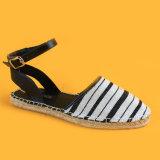 Mesdames bandeau blanc et noir sangle Ankel Flats Sandales Espadrilles